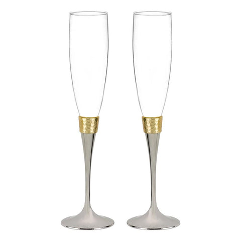 Hammered Gold Flutes, gold flutes, gold toasting flutes, gold anniversary flutes, elegant toasting flutes, Flutes and Glassware