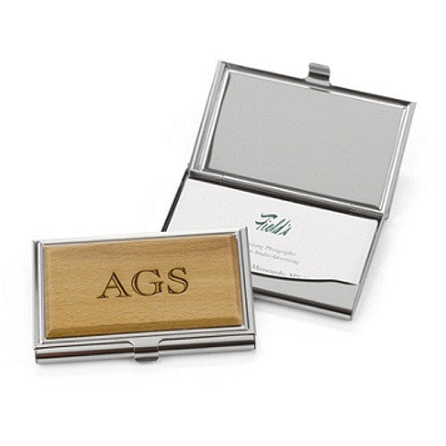 Personalized Wood Card Case - Sophie's Favors and Gifts