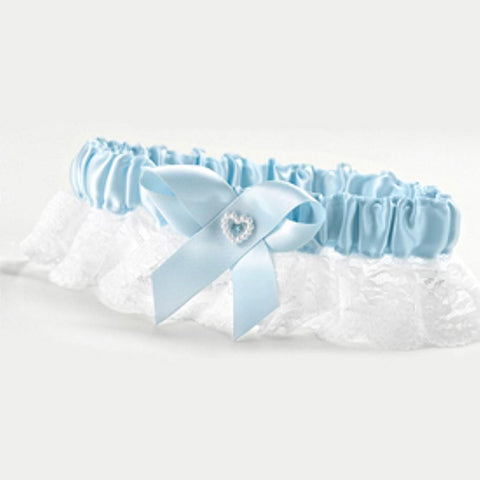 Blue Heart and Rhinestone Garter, wedding garter, bridal garter, something blue garter, elegant wedding garter, Wedding & Prom Garters
