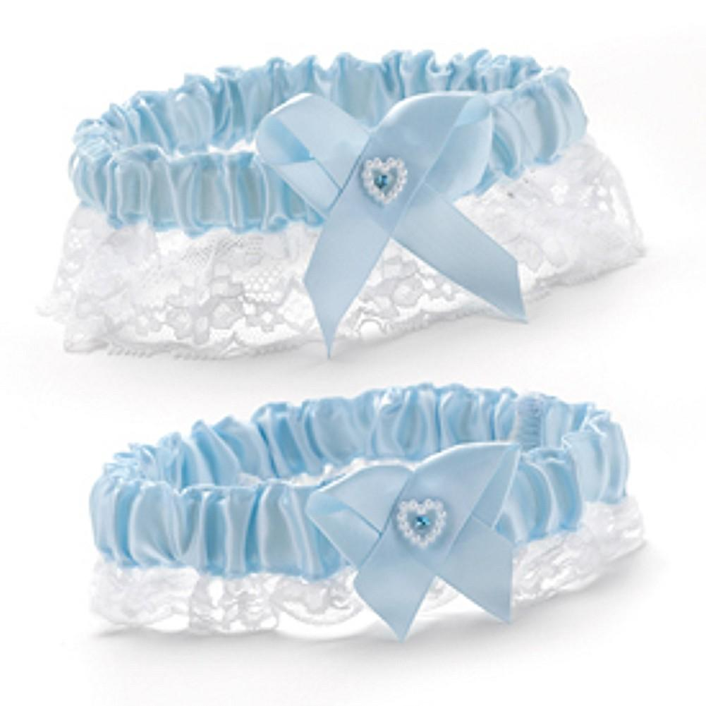 Blue Heart and Rhinestone Garter Set - Sophie's Favors and Gifts