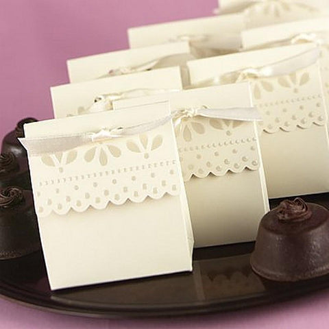 Ivory Scalloped Tent Favor Boxes with Ivory Ribbons - Sophie's Favors and Gifts