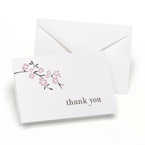 Cherry Blossom Thank You Cards and Envelopes (Set of 50), asian thank you cards, japanese thank you cards, cherry blossom thank you notes, cherry blossom stationery, Thank You Cards