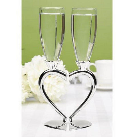 Interlocking Silver-Plated Champagne Flutes, wedding toasting glasses, bridal toasting glasses, heart toasting glasses, heart wedding theme, Flutes and Glassware
