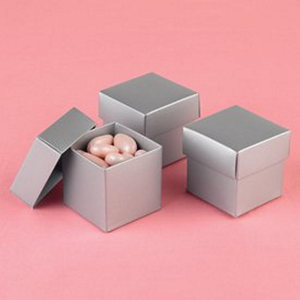 Silver Shimmer 2in. x 2in. x 2in. 2-Piece Favor Boxes - Sophie's Favors and Gifts
