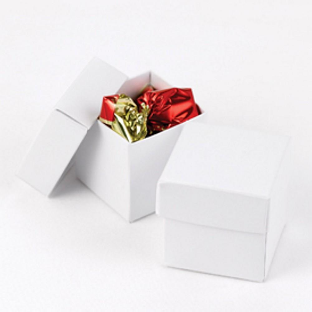 White Two Piece Favor Boxes - 2in. X 2in. X 2in., white boxes, white weddings, wedding favor boxes, white favor boxes, Favor Boxes
