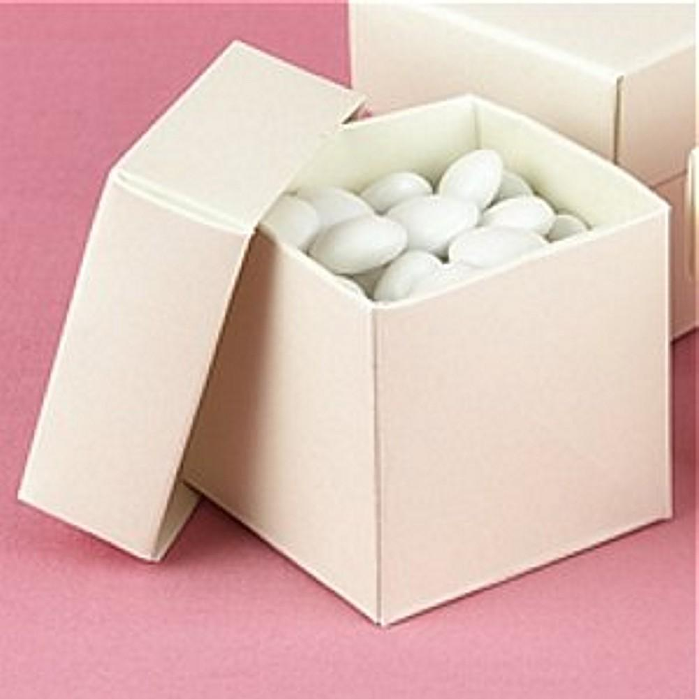 Ivory Shimmer 2in. X 2in. X 2in. 2-Piece Favor Boxes, ivory favor boxes, cream favor boxes, cream wedding favor boxes, off white favor boxes, Favor Boxes