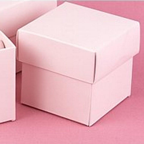 Blush Pink 2in. X 2in. X 2in. 2-Piece Favor Boxes, pink favor boxes, pink gift boxes, pink two piece boxes, pink 2 piece boxes, Favor Boxes