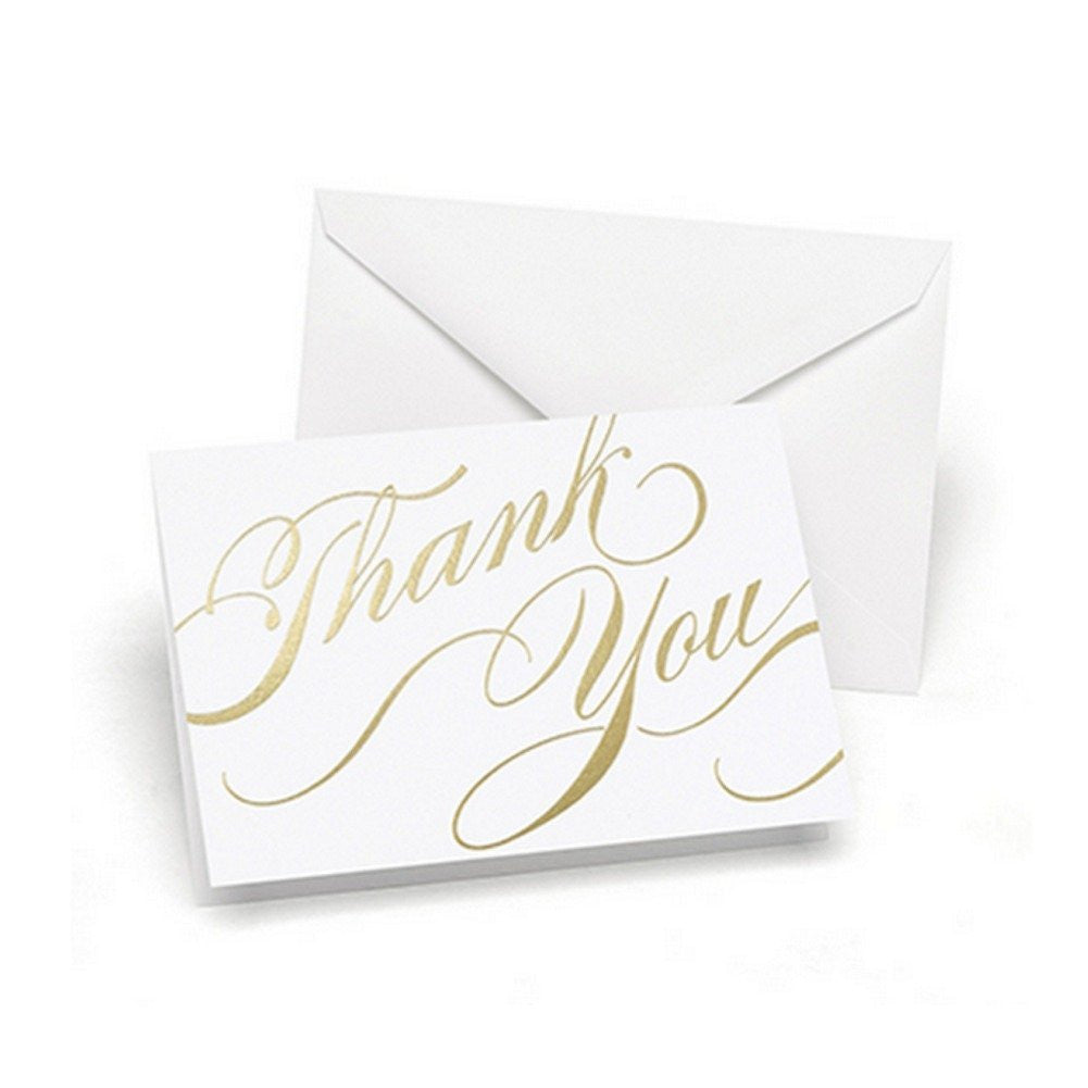 Gold Foil Swirls Thank You Cards with White Envelopes - 50 Pack - Sophie's Favors and Gifts