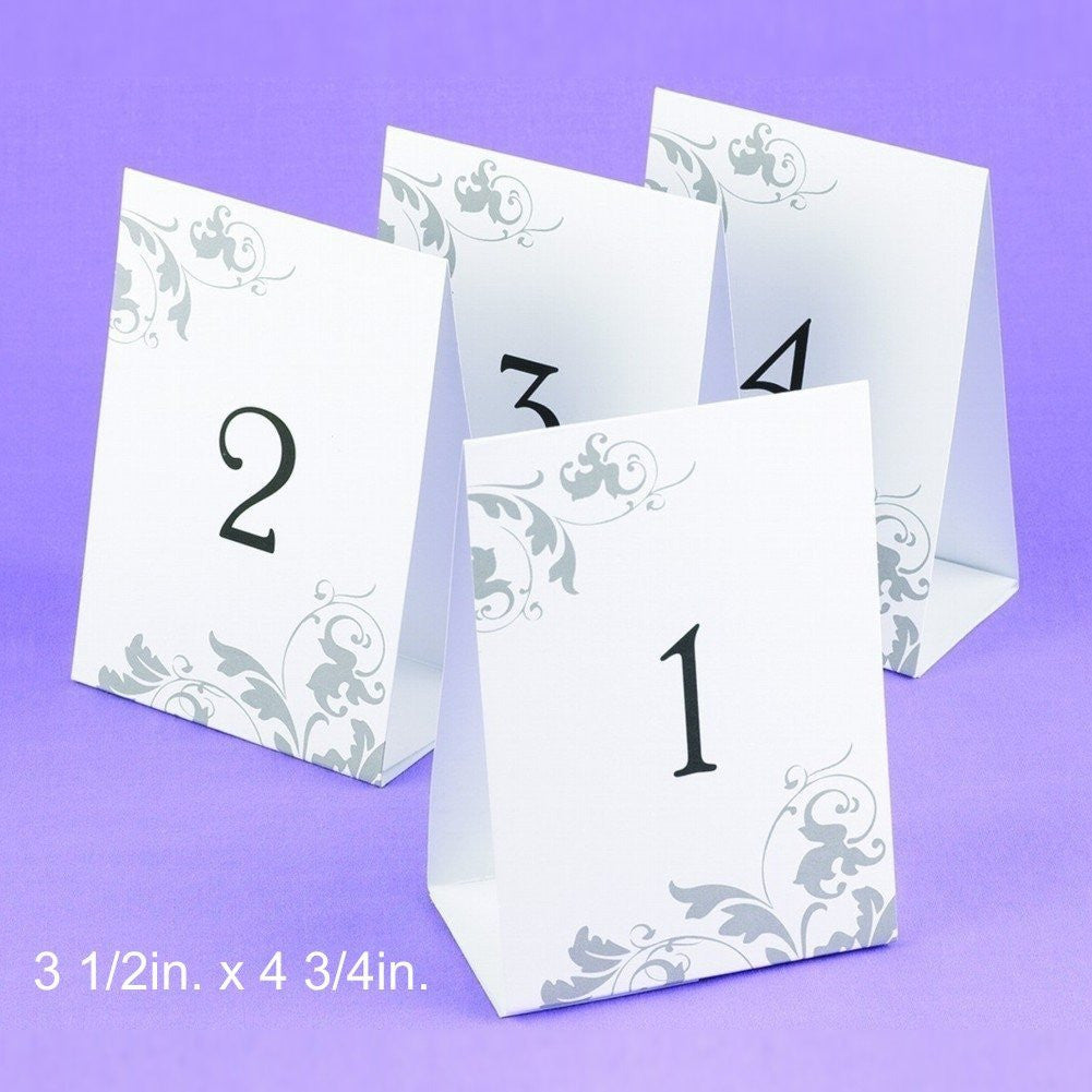 Tent Styled Table Number Cards With Grey Flourish Design - Numbers 1 through 40 - Sophie's Favors and Gifts