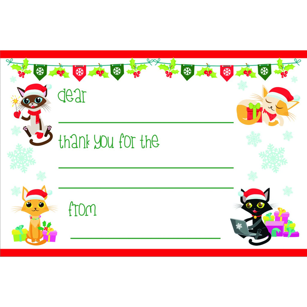 Holiday Cats - Kid's Christmas Thank You Postcards - Sophie's Favors and Gifts