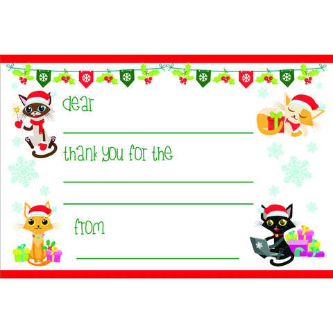 Holiday Cats - Kid's Christmas Thank You Postcards