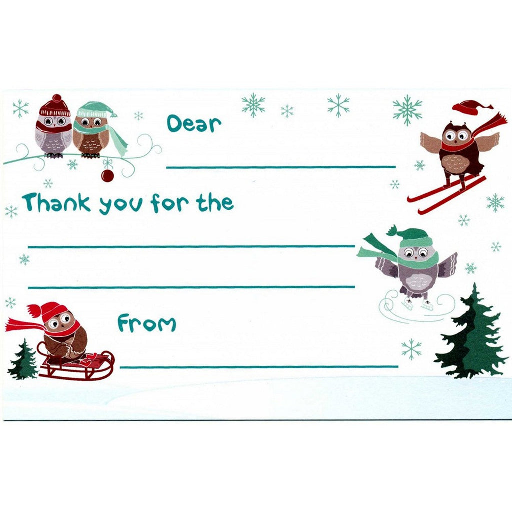 Holiday Owls Kid's Christmas Thank You Postcards - Sophie's Favors and Gifts