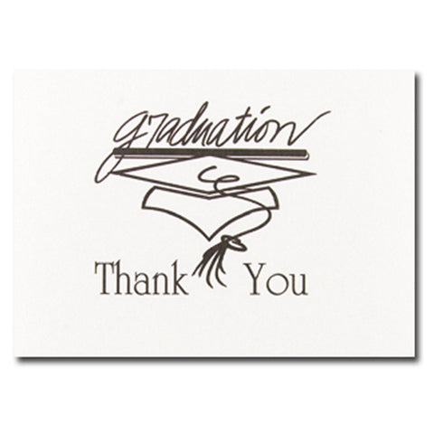 Black Graduation Thank You Cards With Envelopes - 20 Pack - Sophie's Favors and Gifts