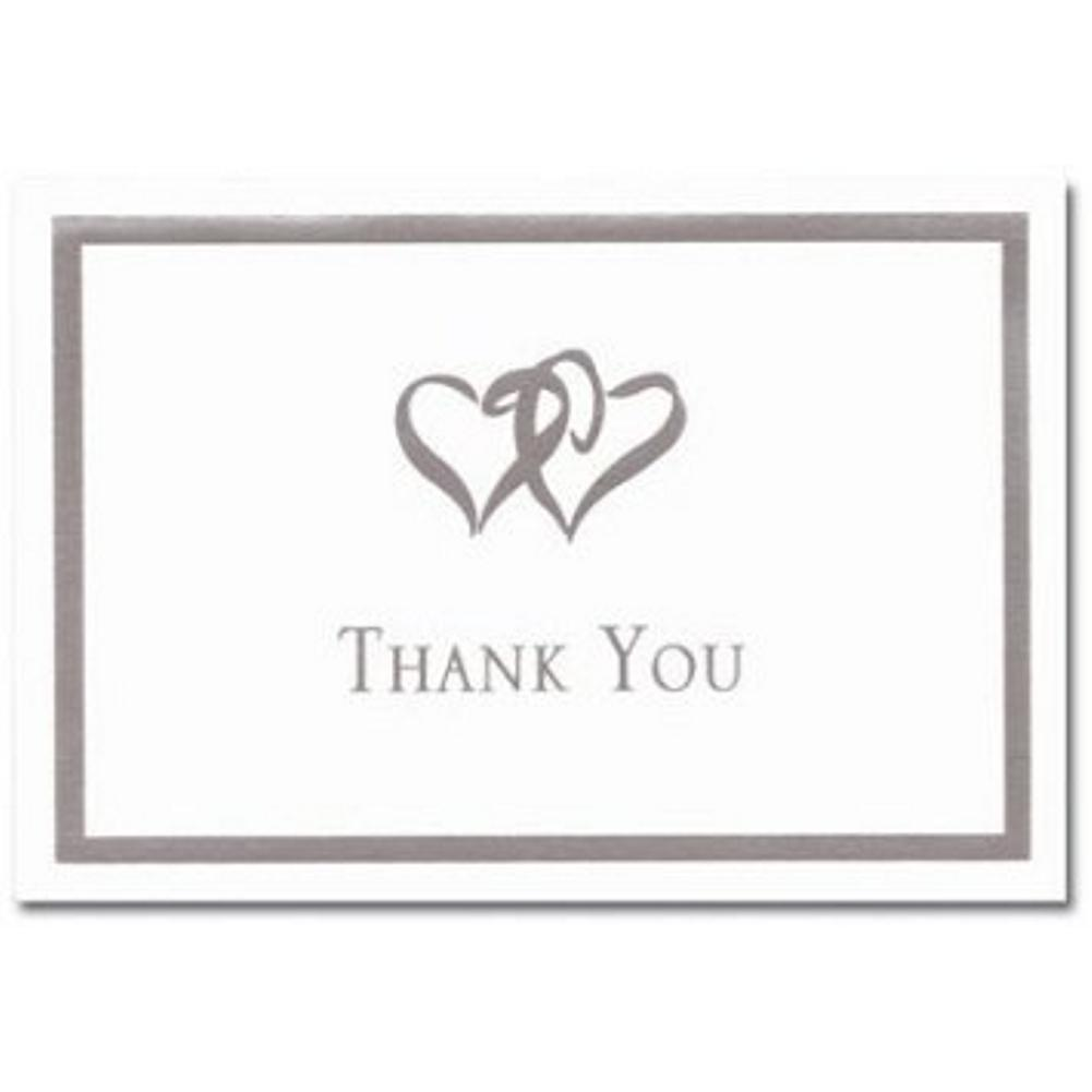 Silver Double Hearts Thank You Note Cards & Envelopes - 100, double hearts thank you cards, anniversary thank you cards, wedding thank you notes, anniversary thank you notes, Thank You Cards