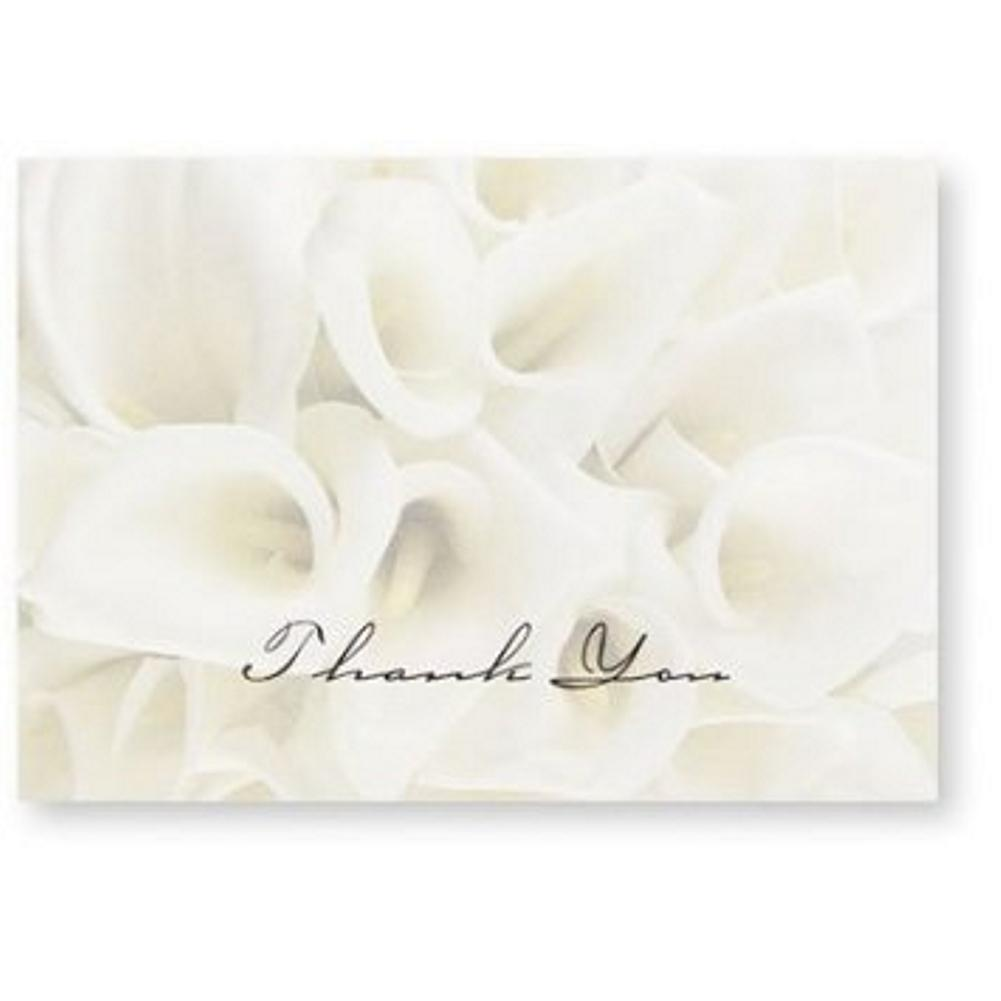White Calla Lilies Thank You Note Cards & Envelopes - 100, elegant wedding thank you cards, calla lillies thank you cards, calla lily thank you cards, calla lily thank you notes, Thank You Cards