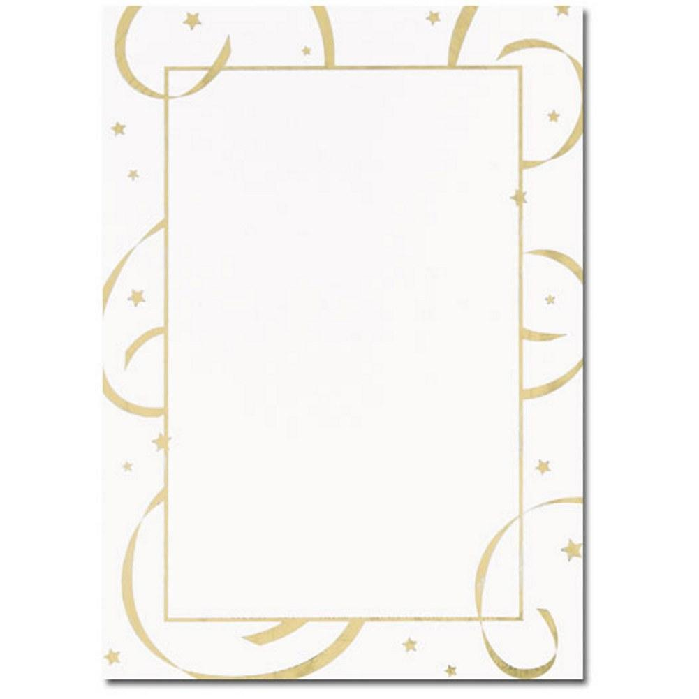 Gold Stars And Streamers Flat Cards With Envelopes - Sophie's Favors and Gifts