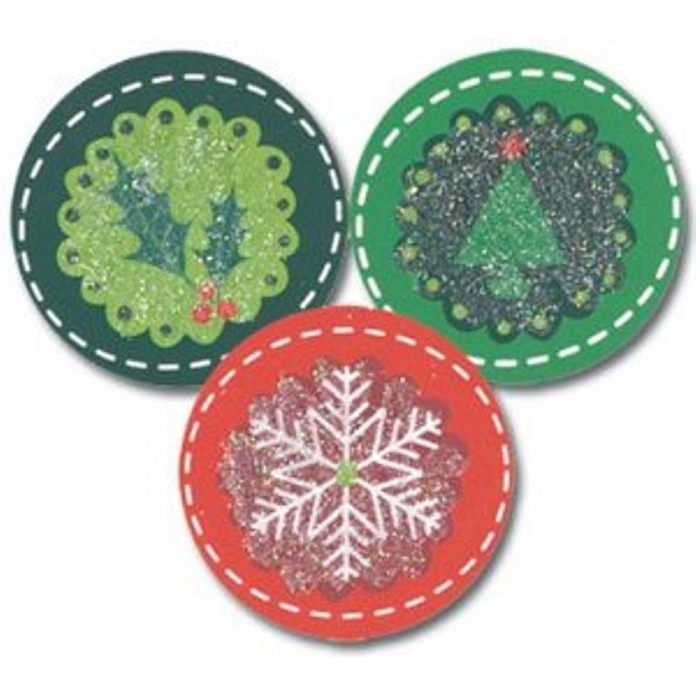 Holiday Circles Christmas Seals, christmas envelope seals, holiday envelope seals, holiday stickers, christmas stickers, Christmas