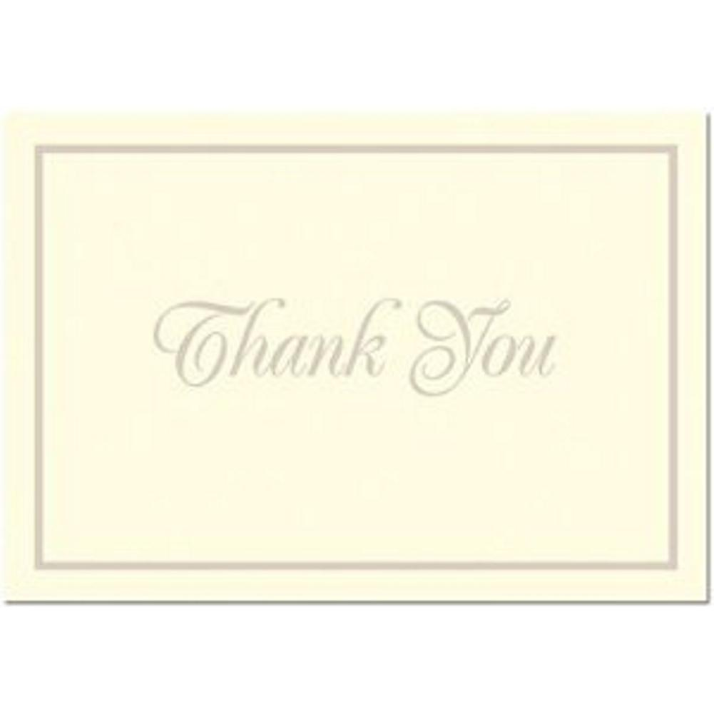 Pearl Border Ivory Thank You Note Cards & Envelopes - 100, ivory thank you cards, wedding thank you cards, ivory thank you notes, cream thank you notes, Thank You Cards
