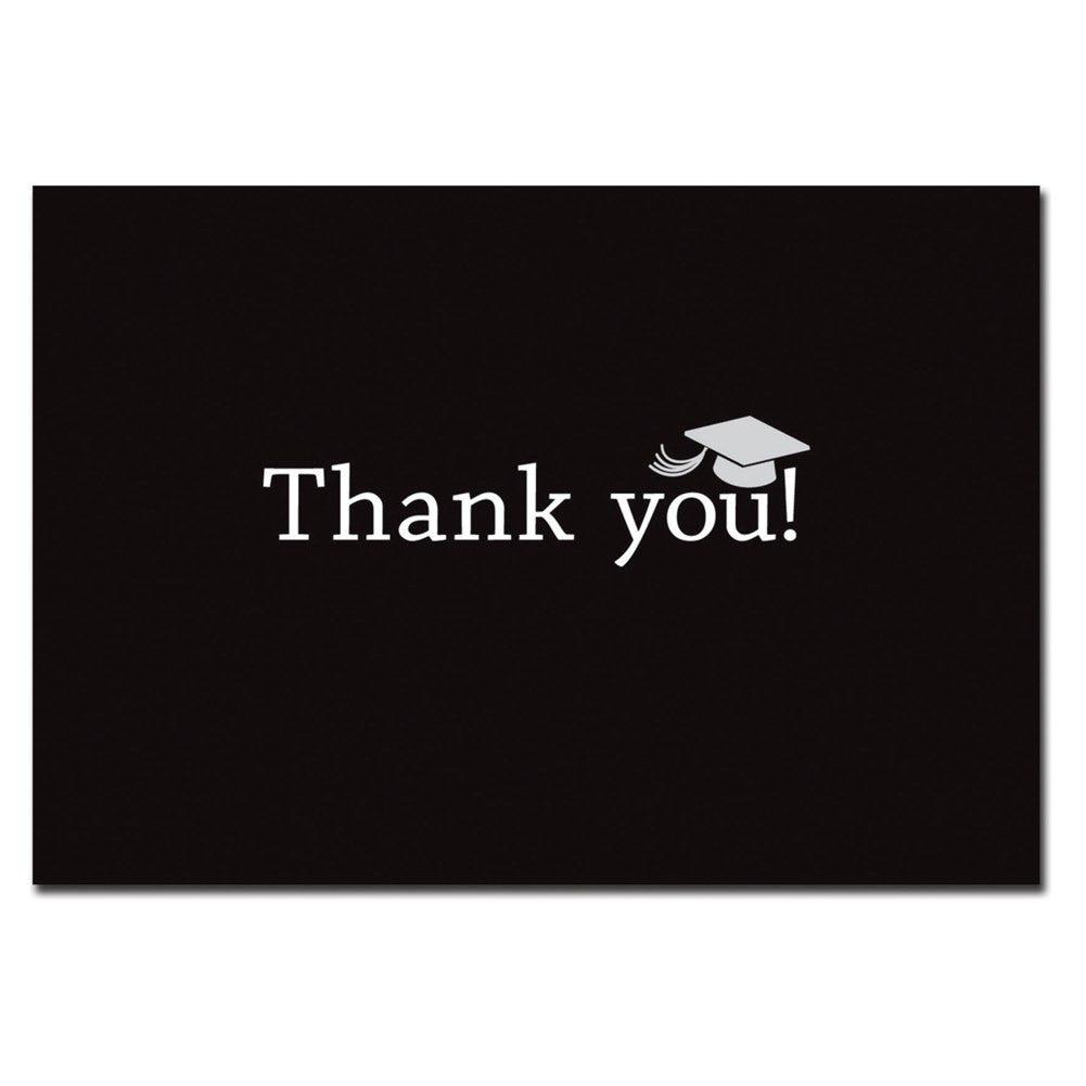 Classic Graduation Black Thank You Cards With White Envelopes - 50 Pack - Sophie's Favors and Gifts