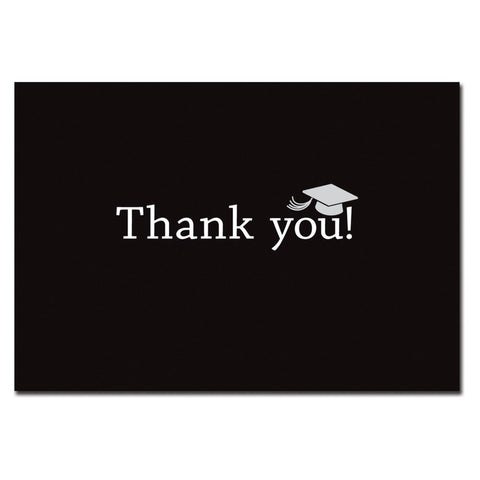 Classic Graduation Black Thank You Cards With White Envelopes - 50 Pack, graduation cards, graduation thank you cards, graduation supply, graduation party idea, Thank You Cards
