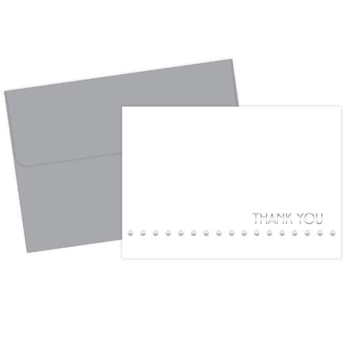 Silver Lotsa Dots Foil Thank You Cards with Envelopes - 24 Pack - Sophie's Favors and Gifts