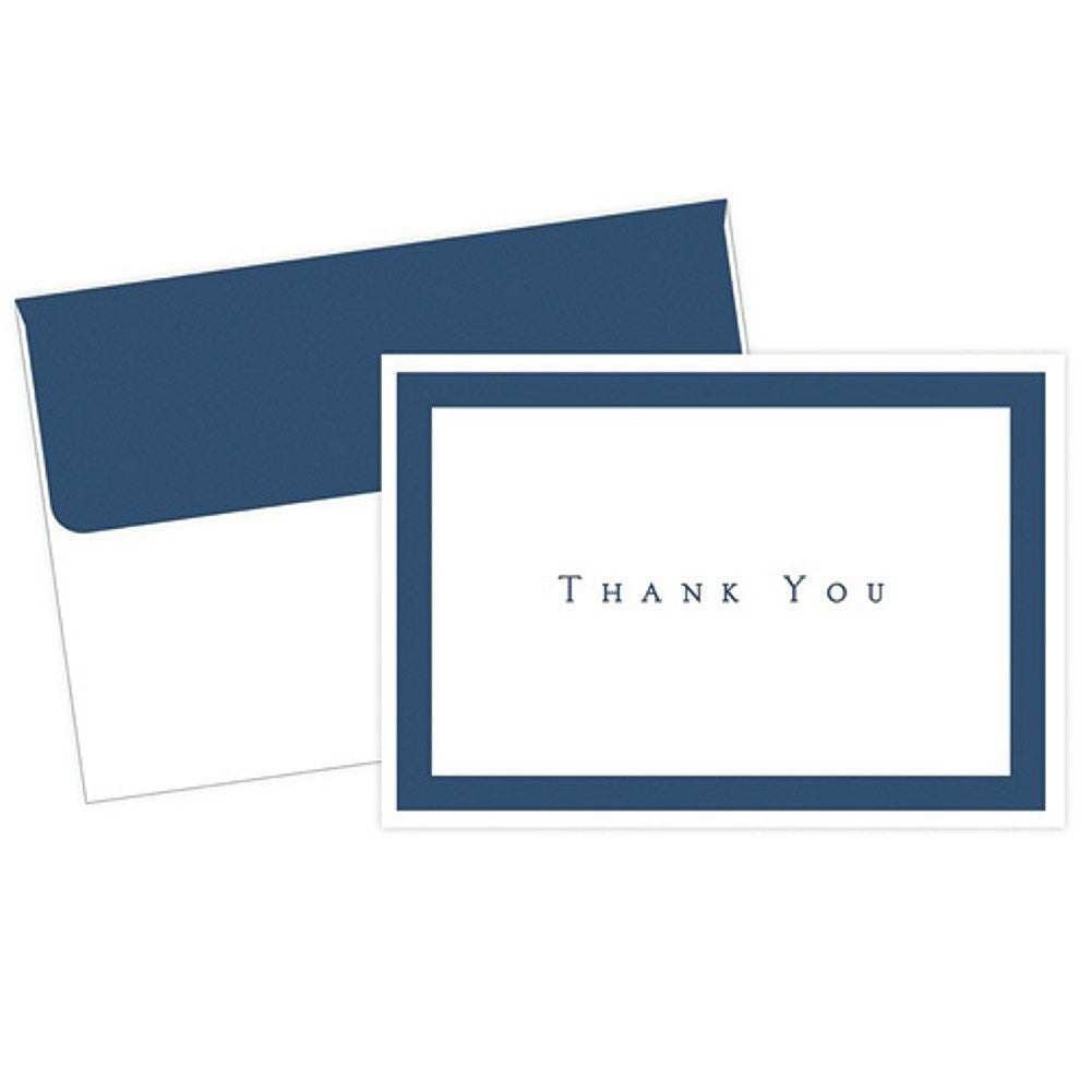 Navy Blue Border Thank You Cards With Envelopes 50 Pack