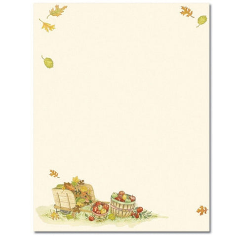 80 Harvest Apples Letterhead Sheets, thanksgiving invitations, thanksgiving supplies, thanksgiving paper, autumn letterhead, Stationery & Letterhead