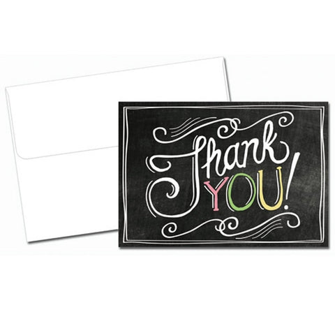 Chalkboard Thank You Note Cards With Envelopes - 24 Pack - Sophie's Favors and Gifts