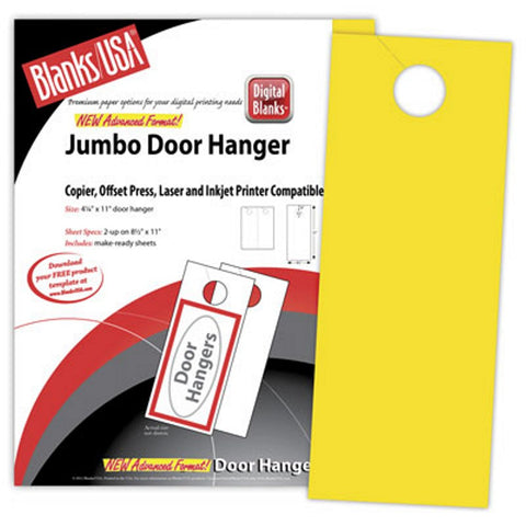 Yellow Jumbo Door Hangers - Pack of 100, yellow door hangers, door hanger paper, printable door hangers, jumbo door hangers, Stationery & Letterhead