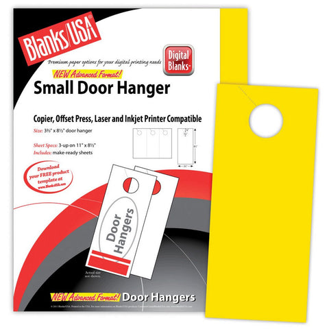 Yellow Small Door Hangers - Pack of 150, yellow door hangers, door hanger paper, printable door hangers, door hanger template, Stationery & Letterhead