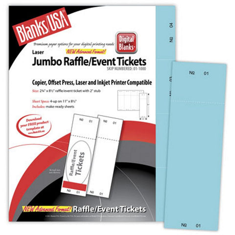 Jumbo Blue Raffle Tickets Paper - 2.75in. X 8.5in. - Pack of 500, raffle ticket paper, blue raffle tickets, raffle tickets, jumbo raffle tickets paper, Stationery & Letterhead