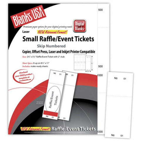 Small White Raffle Tickets Paper - 2.125in. X 5.5in. - Pack of 400, raffle ticket paper, raffle tickets, white raffle tickets, raffle tickets paper, Stationery & Letterhead