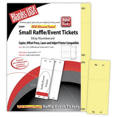 Small Yellow Raffle Tickets Paper - 2.125in. X 5.5in. - Pack of 400, raffle ticket paper, yellow raffle tickets, raffle tickets, raffle tickets paper, Stationery & Letterhead
