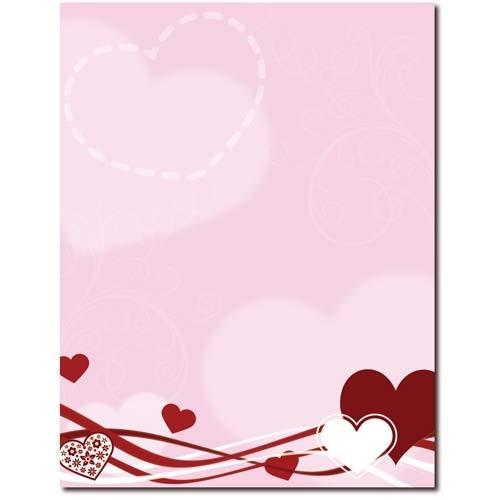 Hearts and Swirls Letterhead - 100 Sheets, valentine stationery, valentines letterhead, heart letterhead, love stationery, Stationery & Letterhead
