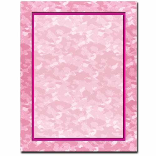 Pink Camo Letterhead - 100 Sheets - Sophie's Favors and Gifts