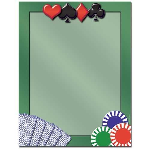 Card Games Letterhead - 100 Sheets, gambling stationery, casino letterhead, card games stationery, casino night party idea, Stationery & Letterhead