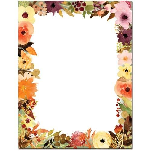 Fall Floral Letterhead - 100 Sheets, personal stationery, autumn stationery, fall season letterhead, thanksgiving letterhead, Stationery & Letterhead