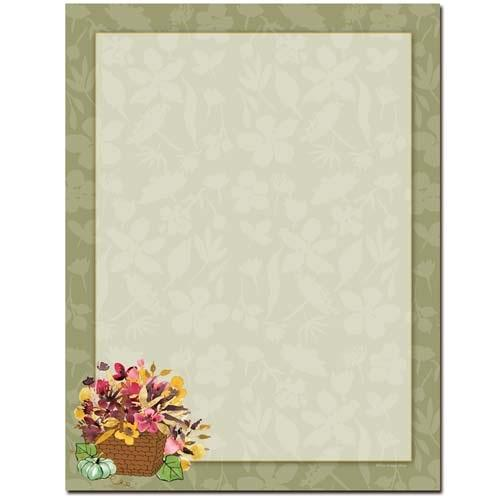 Autumn Basket Letterhead - 100 Sheets - Sophie's Favors and Gifts