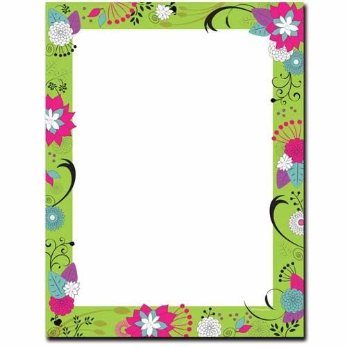 Floral On Green Letterhead - 100 Sheets - Sophie's Favors and Gifts