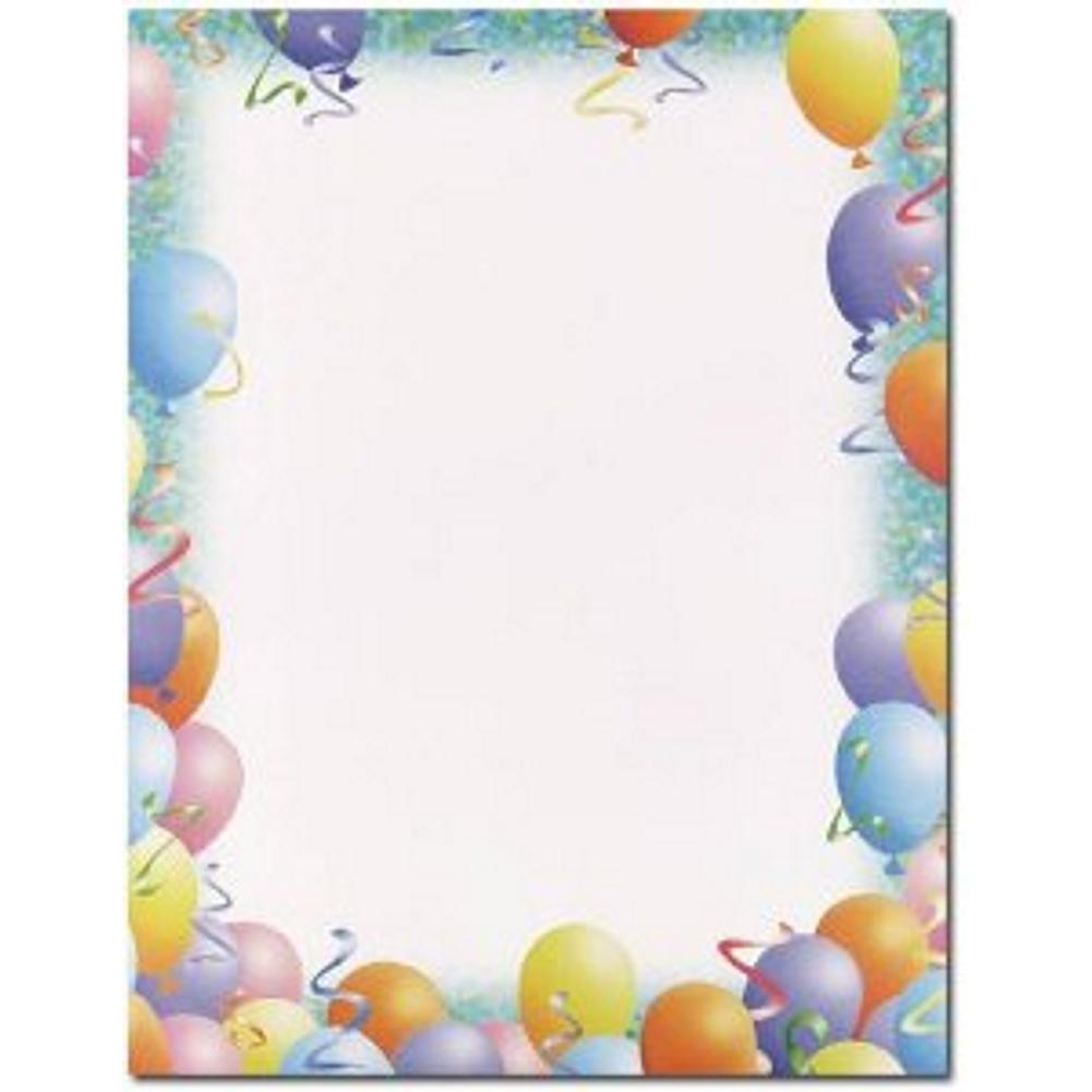 200 Party Letterhead Sheets, birthday letterhead, birthday stationery, party stationery, balloons letterhead, Stationery & Letterhead