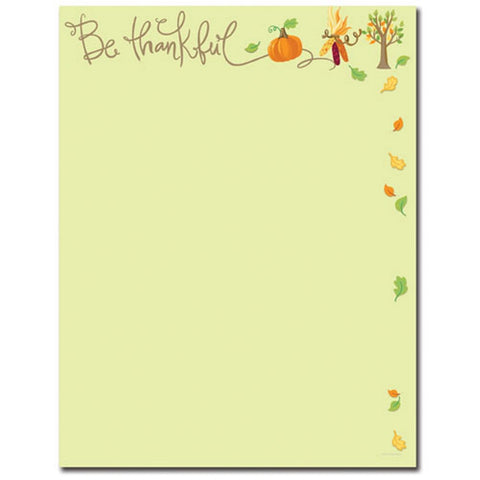 Be Thankful Letterhead - 80 Sheets, fall stationery, thanksgiving paper, fall letterhead, thanksgiving invitations, Stationery & Letterhead