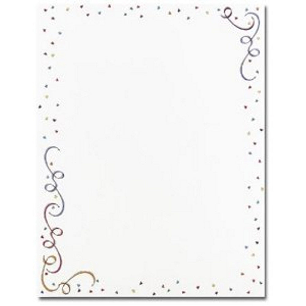 Party Elements Letterhead - 160 Sheets, birthday letterhead, birthday stationery, streamers stationery, balloons letterhead, Stationery & Letterhead