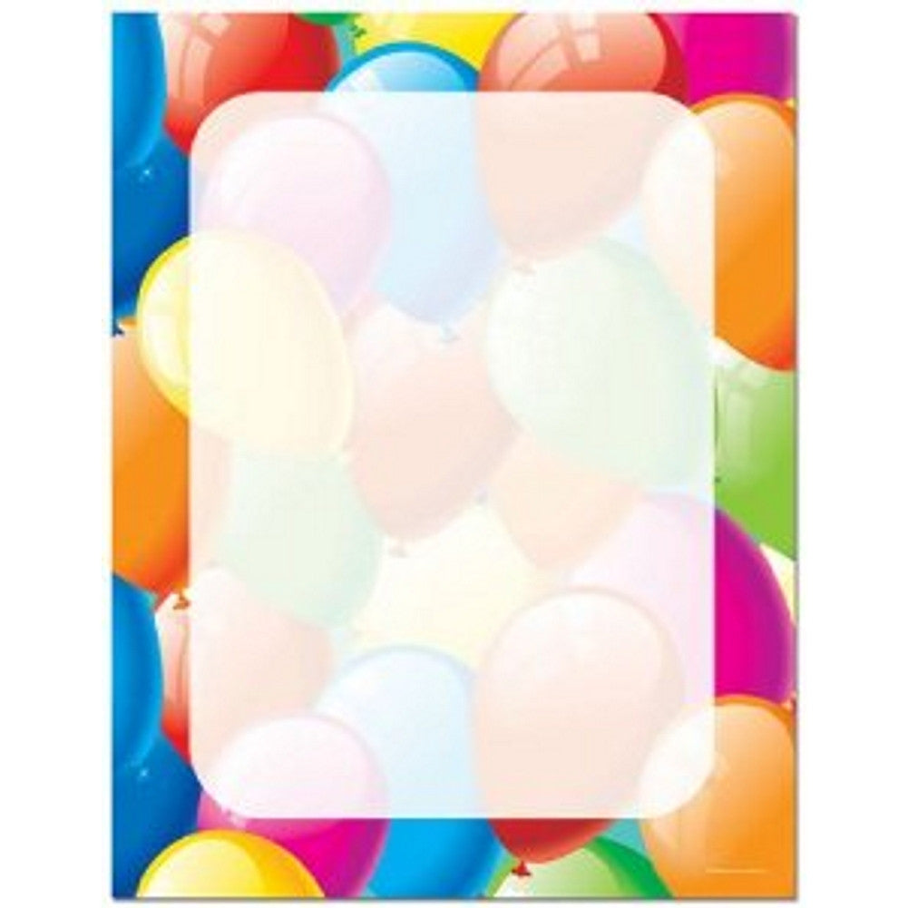 80 Balloon Border Letterhead Sheets, party stationery, party invitations, celebration stationery, party supplies, Stationery & Letterhead