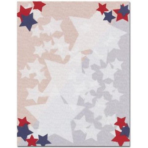 Stars Letterhead Sheets, red white blue letterhead, 4th of july stationery, military stationery, patriotic letterhead, Stationery & Letterhead