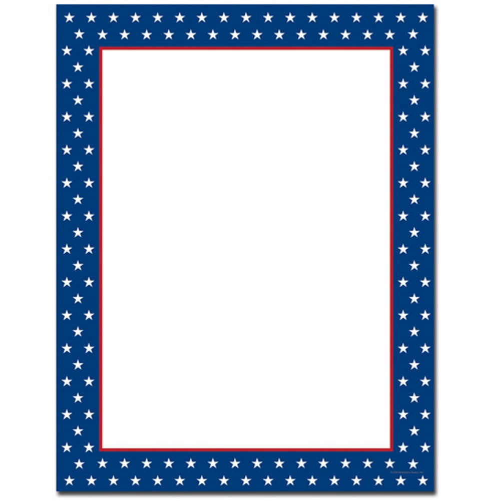 80 American Stars Letterhead Sheets - Sophie's Favors and Gifts