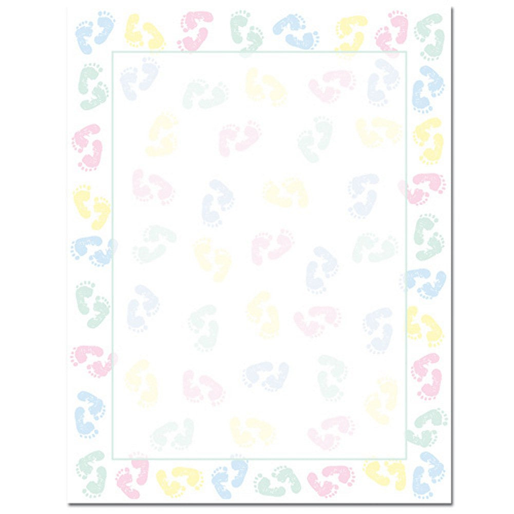 80 Baby Feet Letterhead Sheets, baby stationery, baby letterhead, diy baby shower invitations, baby stationery supplies, Stationery & Letterhead
