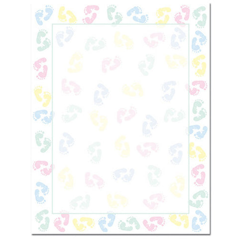 80 Baby Feet Letterhead Sheets - Sophie's Favors and Gifts