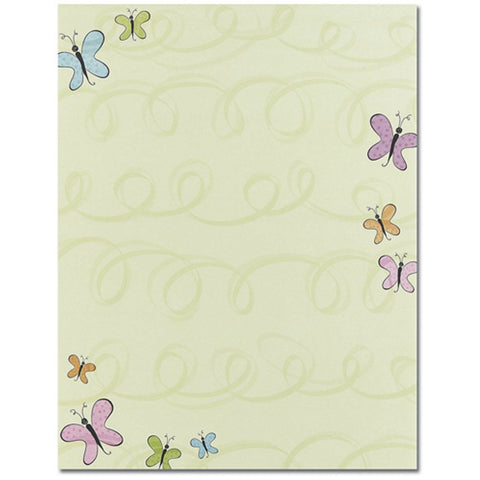 100 Noveau Butterflies Letterhead Sheets, butterfly paper, butterfly stationery, pretty writing paper, butterfly letterhead sheets, Stationery & Letterhead
