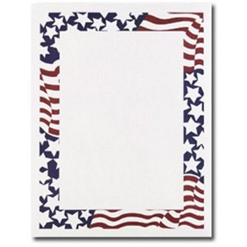 80 Stars and Stripes Letterhead Sheets - Sophie's Favors and Gifts