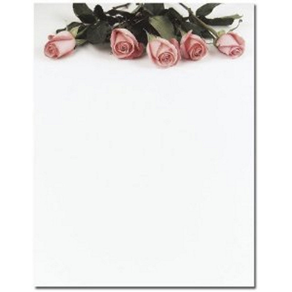 80 Pink Roses Letterhead Sheets, flower stationery, floral stationery, floral letterhead, rose stationery, Stationery & Letterhead